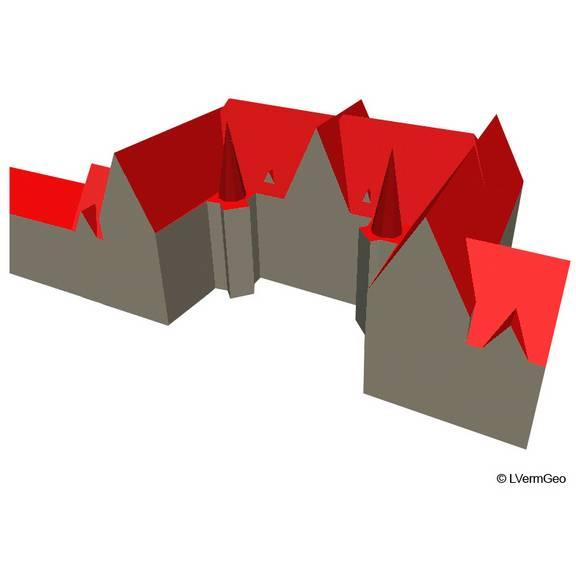 LoD2 - Gebäude mit standardisierter Dachform und Ausrichtung entsprechend tatsächlichem Firstverlauf